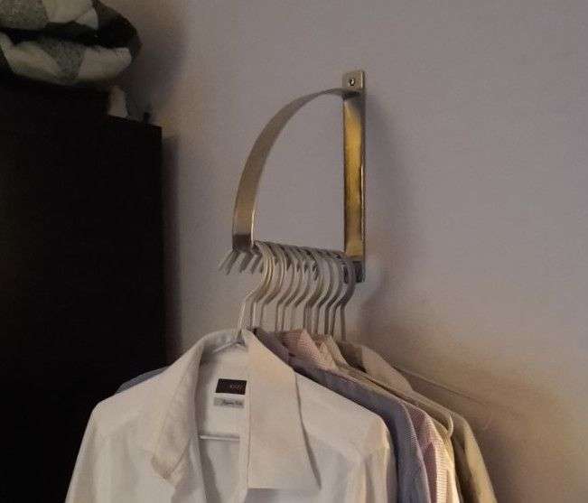 EKBY ROBERT bracket as clothes hanger is part of Hanging Clothes Ideas - Teen in a room with not much space needed to hang her dresses and shirts up  So we figured out an alternative! We used a bracket as clothes hanger