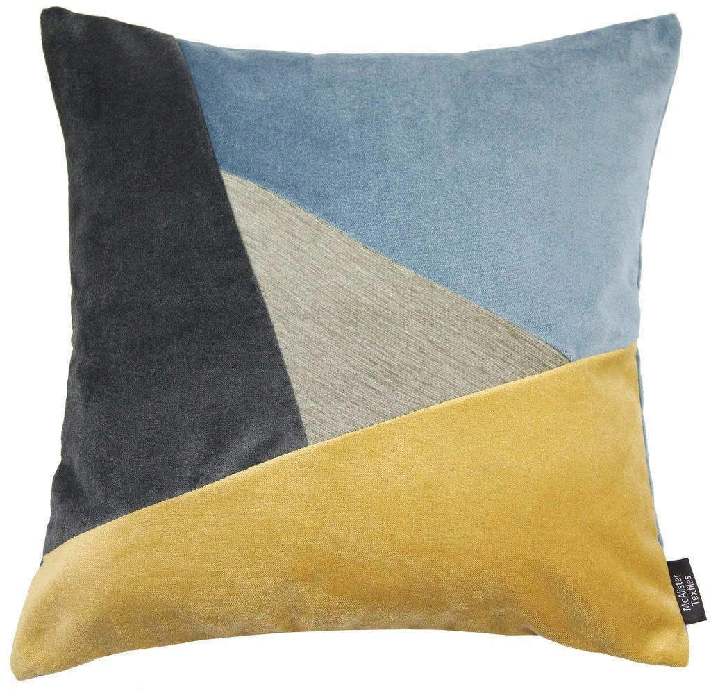Mcalister Textiles Triangle Patchwork Ochre Yellow Grey And Navy Blue Velvet Cushion Cushions Covers Cover Only 43cm X