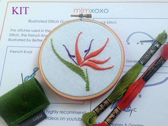 Bird Of Paradise Embroidery Kit By Mlmxoxo Modern Embroidery Etsy Modern Embroidery Kit Embroidery Kits Floral Embroidery Patterns