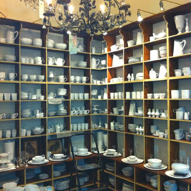 wall of gorgeous ceramics at ABC Carpet and Home in NYC