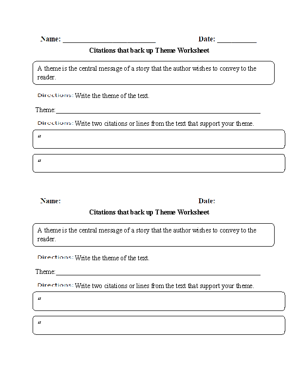 Citations that back up Theme Worksheet – Theme Worksheets Middle School
