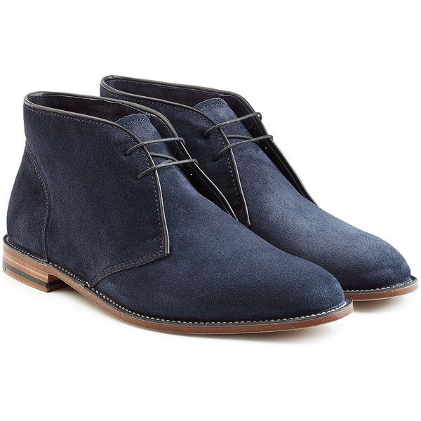 Ludwig Reiter Suede Ankle Boots ($495) ❤ liked on Polyvore featuring men's fashion, men's shoes, men's boots, men and blue