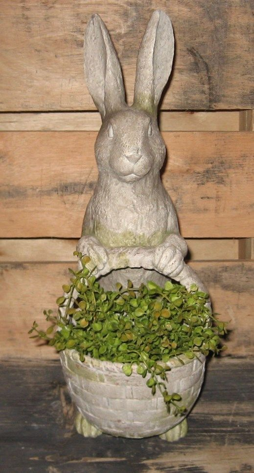 BUNNY RABBIT Statue W/Basket*Primitive/French Country Easter Garden Room  Decor