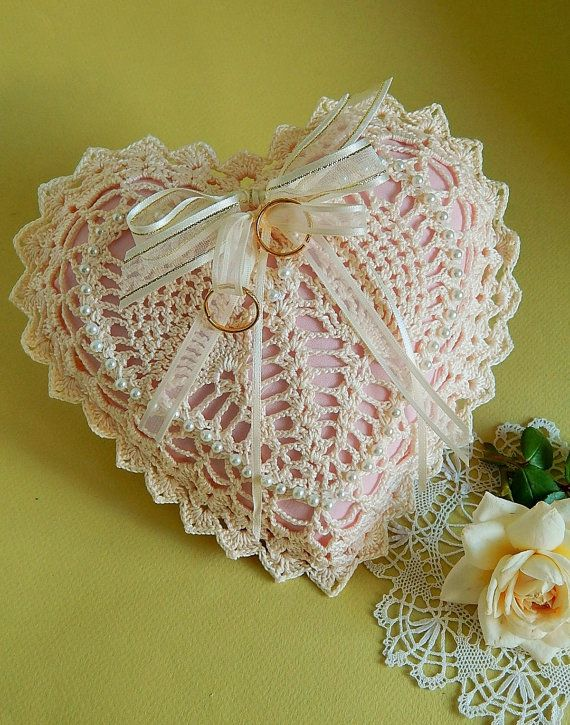 Ring Bearer Pillow Crocheted Lace Ivory Cream & Pink Heart Shaped ...