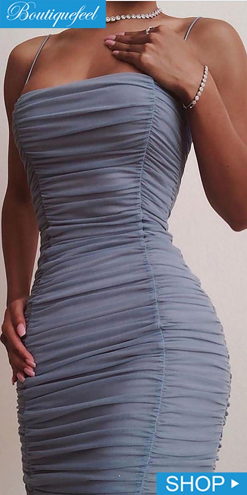 Spaghetti Strap Ruched Bodycon Dress