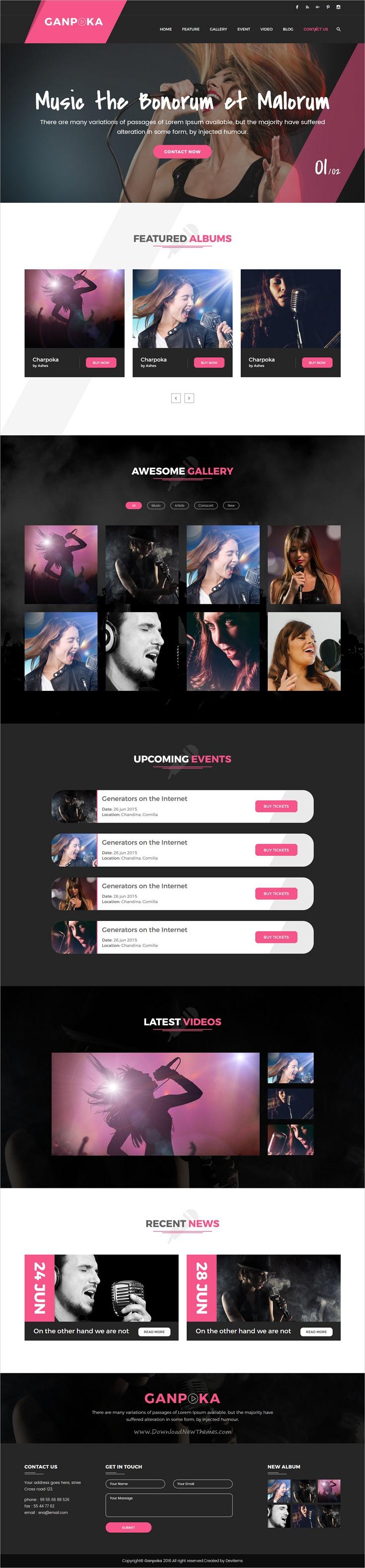 Ganpoka - Singer Celebrity HTML Template | Template, Web design ...