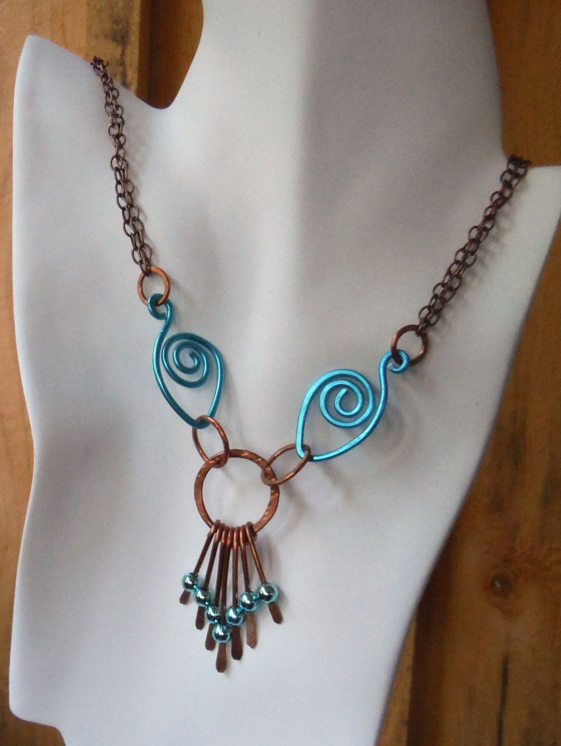 Eyes of Egypt copper link necklace, pendant necklace, bold copper necklace, hand hammered necklace, handmade jewelry... by BeAditudes4U on Etsy