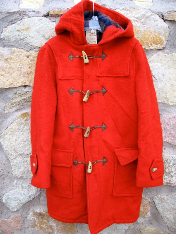 883771dc Another great vintage Hudsons Bay duffle coat in a warm and fiery classic  red wool.