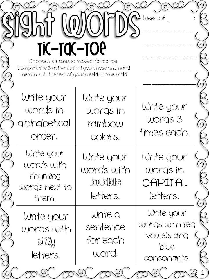 Sight Words  Spelling TicTacToe Freebie  Tic Tac Toe Students