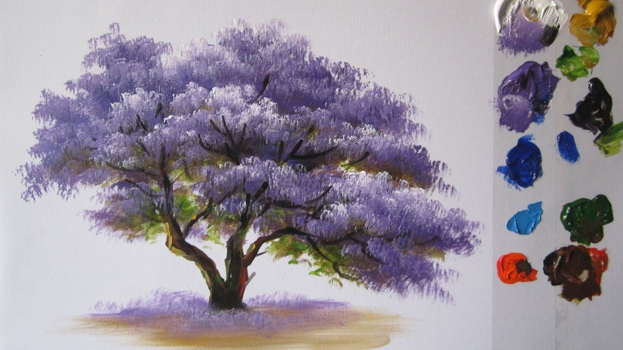 How To Paint A Tree In Acrylics Lesson 2 With Images Tree