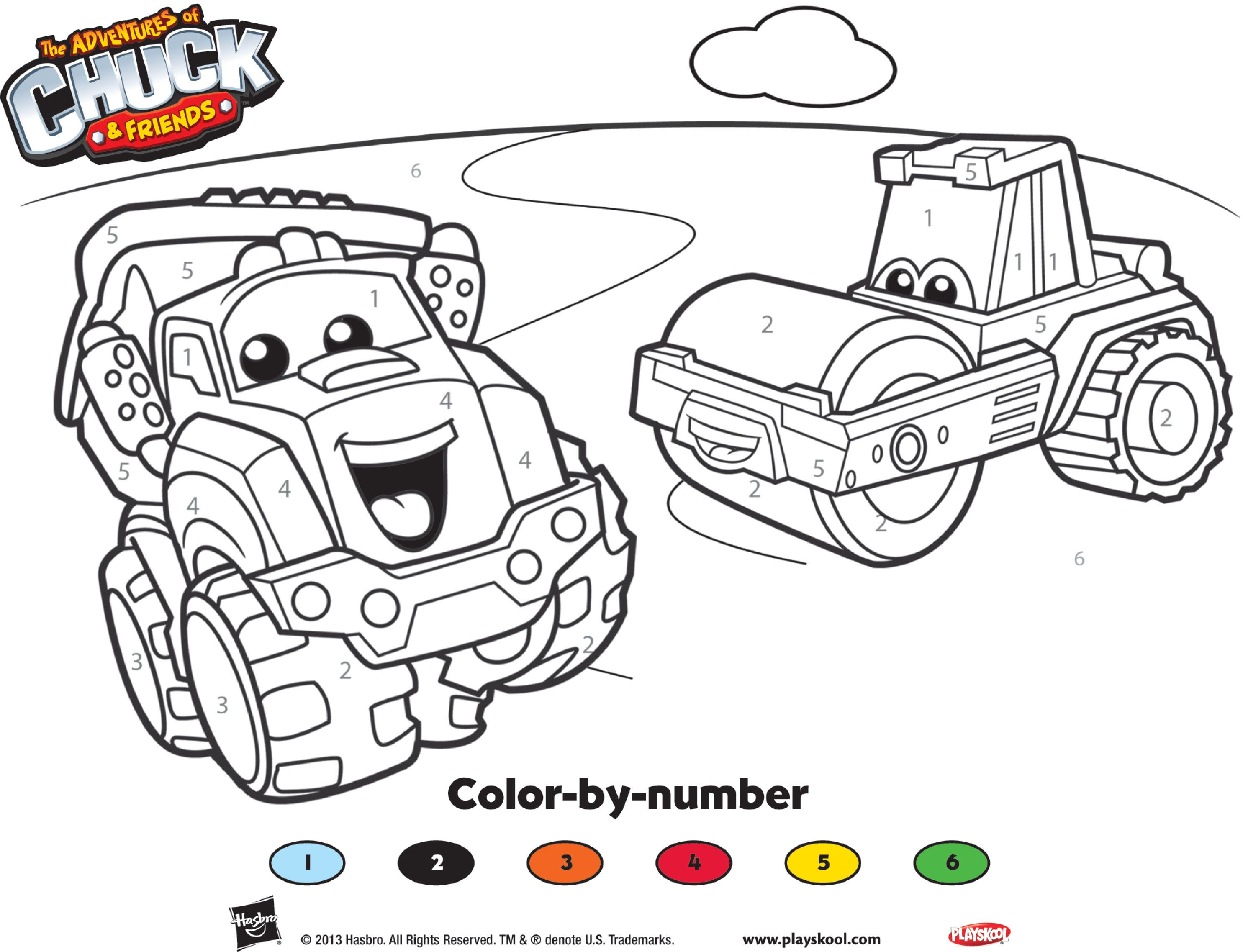 Great Coloring Activity From Chuck And Friends To Keep The Kids Entertained Playskool Kids Entertainment Color Activities