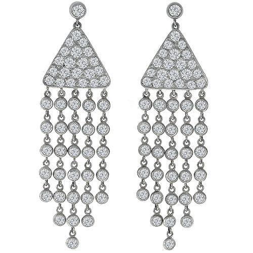 Estate 500ct round cut diamond 18k white gold chandelier earrings estate 500ct round cut diamond 18k white gold chandelier earrings aloadofball Images