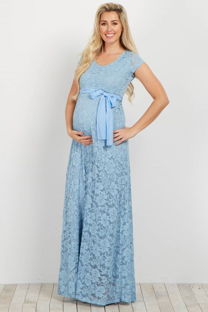 befae70444a2b Dress up in style with this beautiful lace maternity gown. Featuring a  delicate lace and feminine chiffon sash tie this gown will dress your  growing baby ...