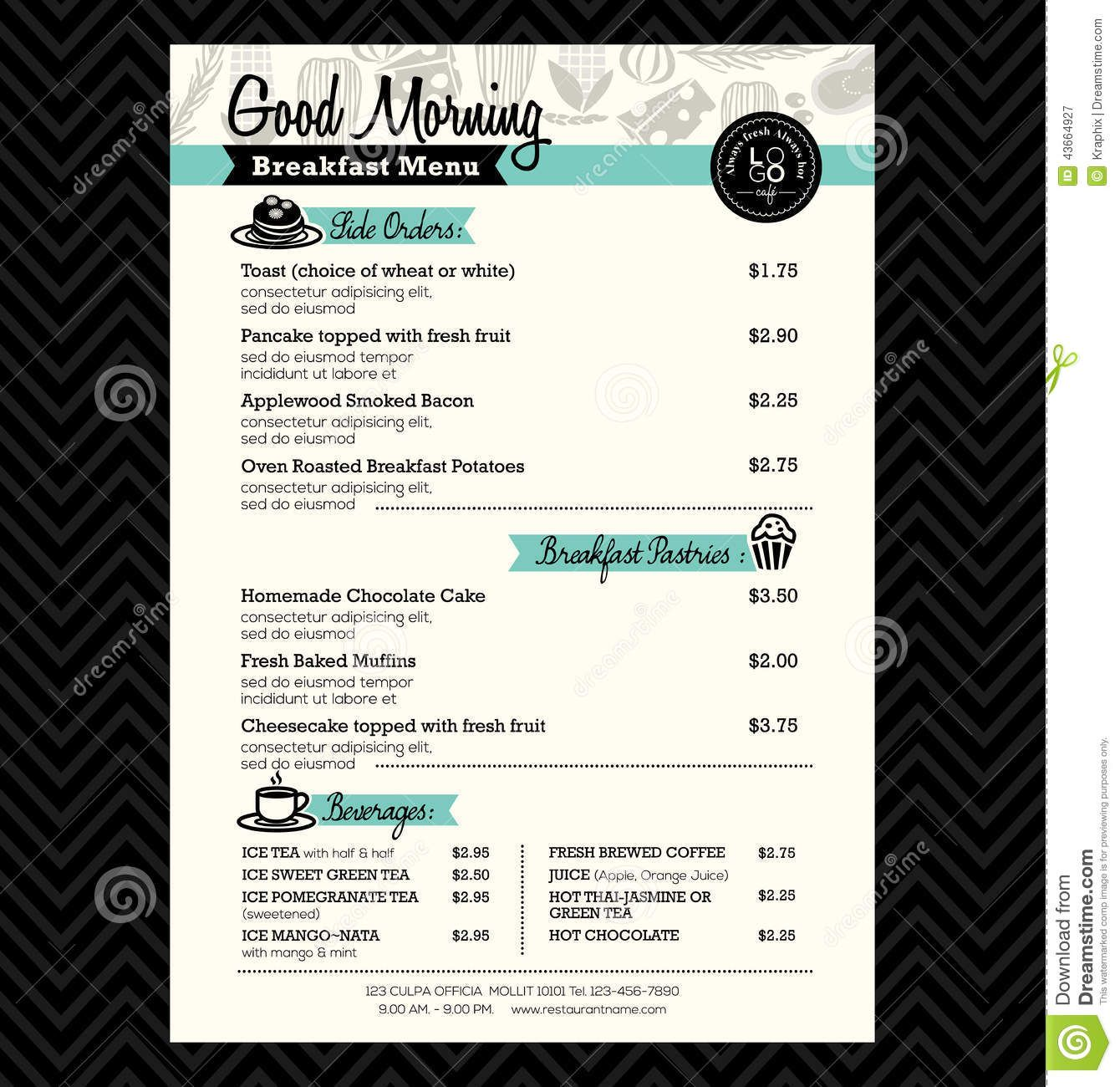 Restaurant Breakfast Menu Design Template Layout Vector By Kraphix Onu2026  Breakfast Menu Template