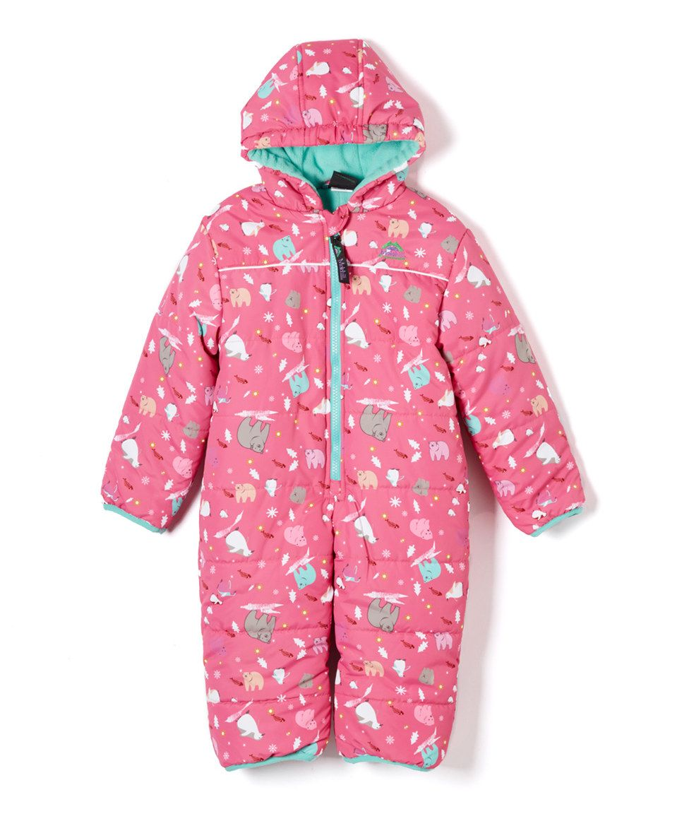 b267723a2d9a This Tuga Sunwear Frosty Pink   Teal Polar Bear Hooded Snowsuit ...