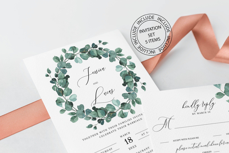 Photo of Wedding invitation set with eucalyptus wreath, wedding invitation template, green, instant download, printable, editable