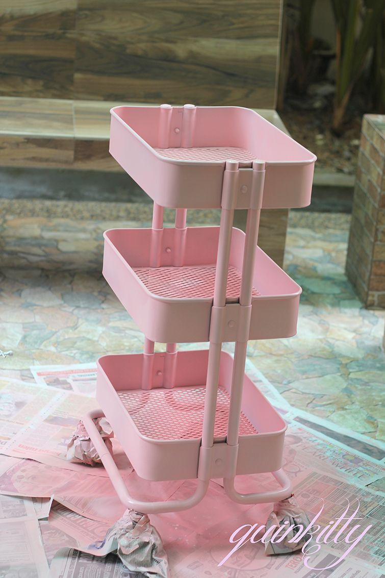 Ikea Raskog Spray Painted Pink Beauty Organization