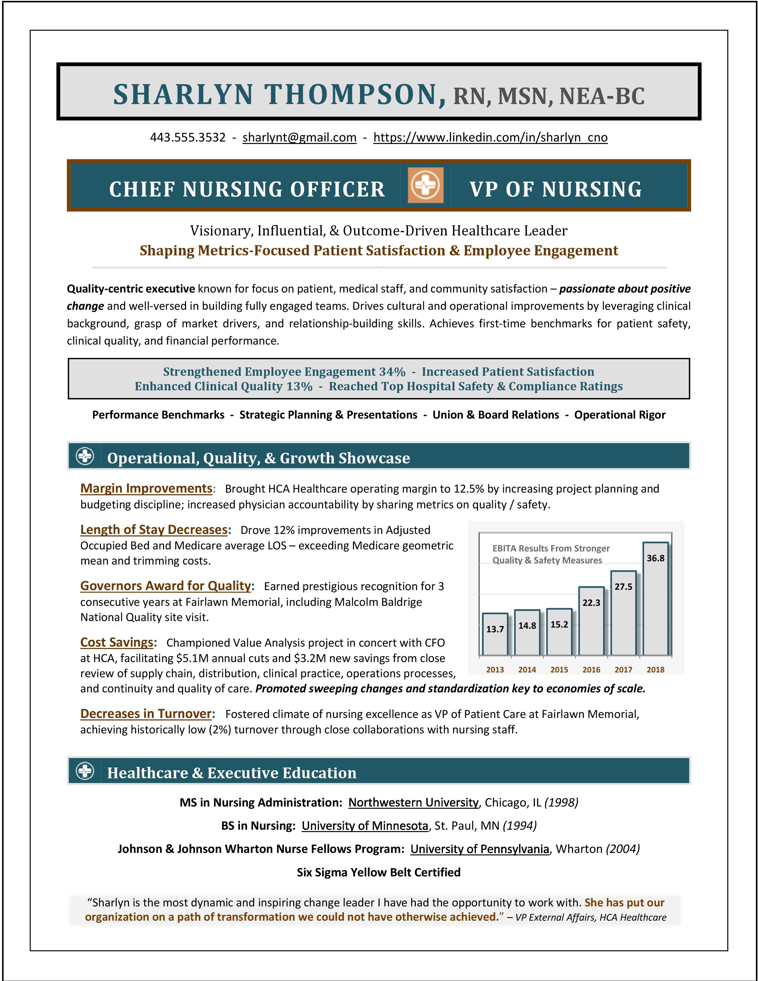 Chief Nursing Officer Sample Resume Sample Cno Resume By Award Winning Resume Writer Example Of Nursing Officer R Nurse Office Executive Resume Resume Writer