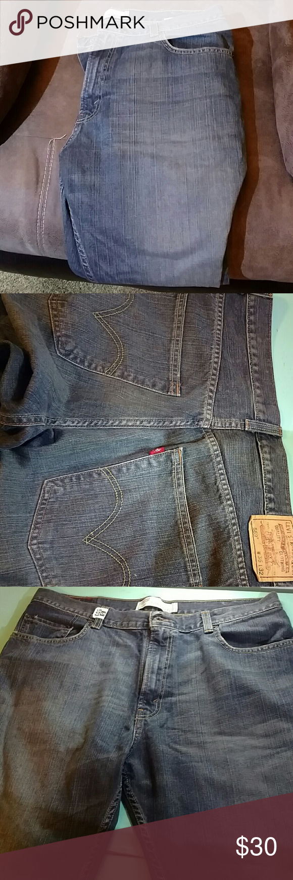 Levi jeans W 36 L 32 bought but could not wear. Style 569 loose straight no holes or loose strands Levi's Jeans