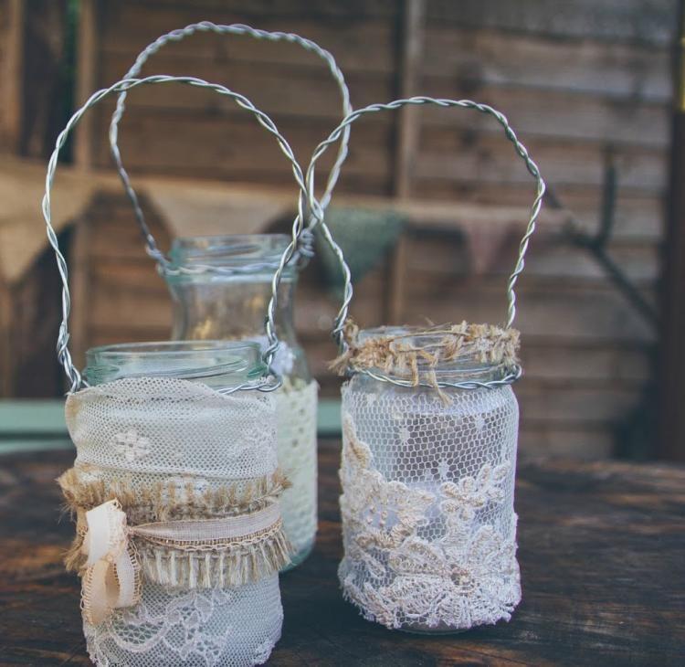 Glas Teelichthalter Selber Basteln Spitze Weiss Glasdosen