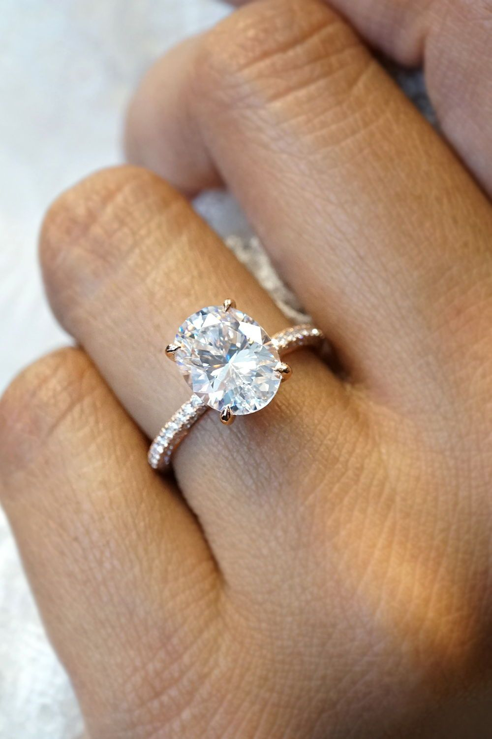 Oval Diamond Engagement Ring in 2019  Oval Engagement