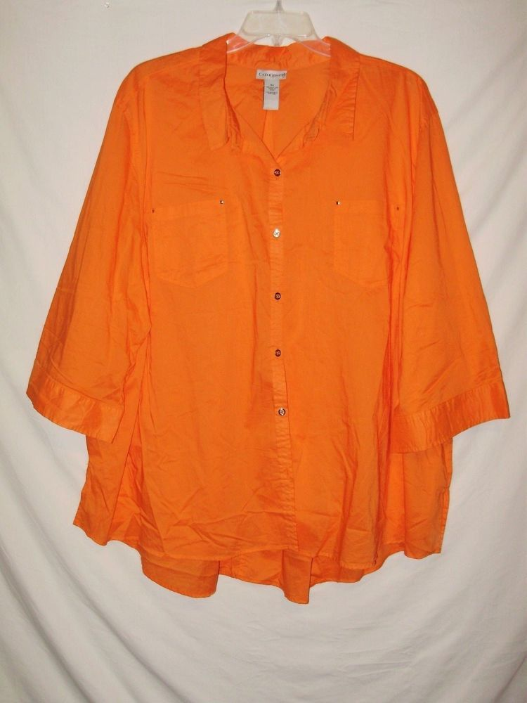 Catherines Womens Plus Size Shirt Size 5x Orange Cotton 3 4 Sleeved