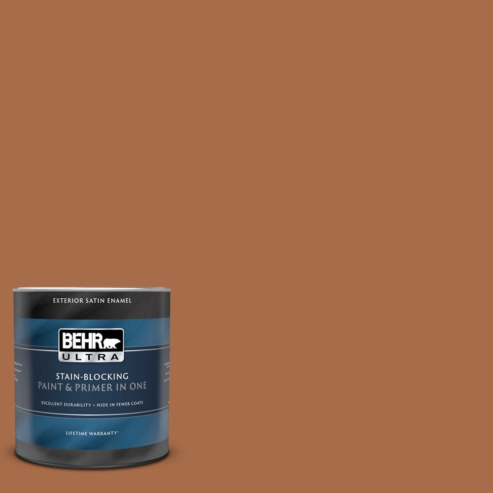 Behr Ultra 1 Qt Qe 13 Smoldering Copper Satin Enamel Exterior Paint And Primer In One In 2020 Exterior Paint Exterior Behr