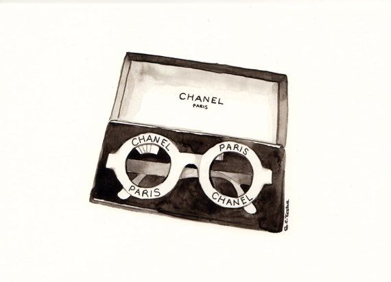 Chanel Sunglasses Original Watercolor Illustration Items