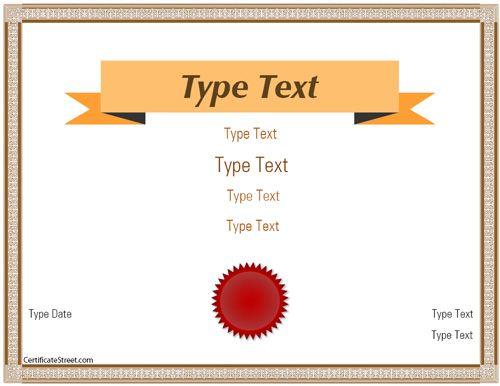 Blank Certificate  Elegant Banner Certificate Template