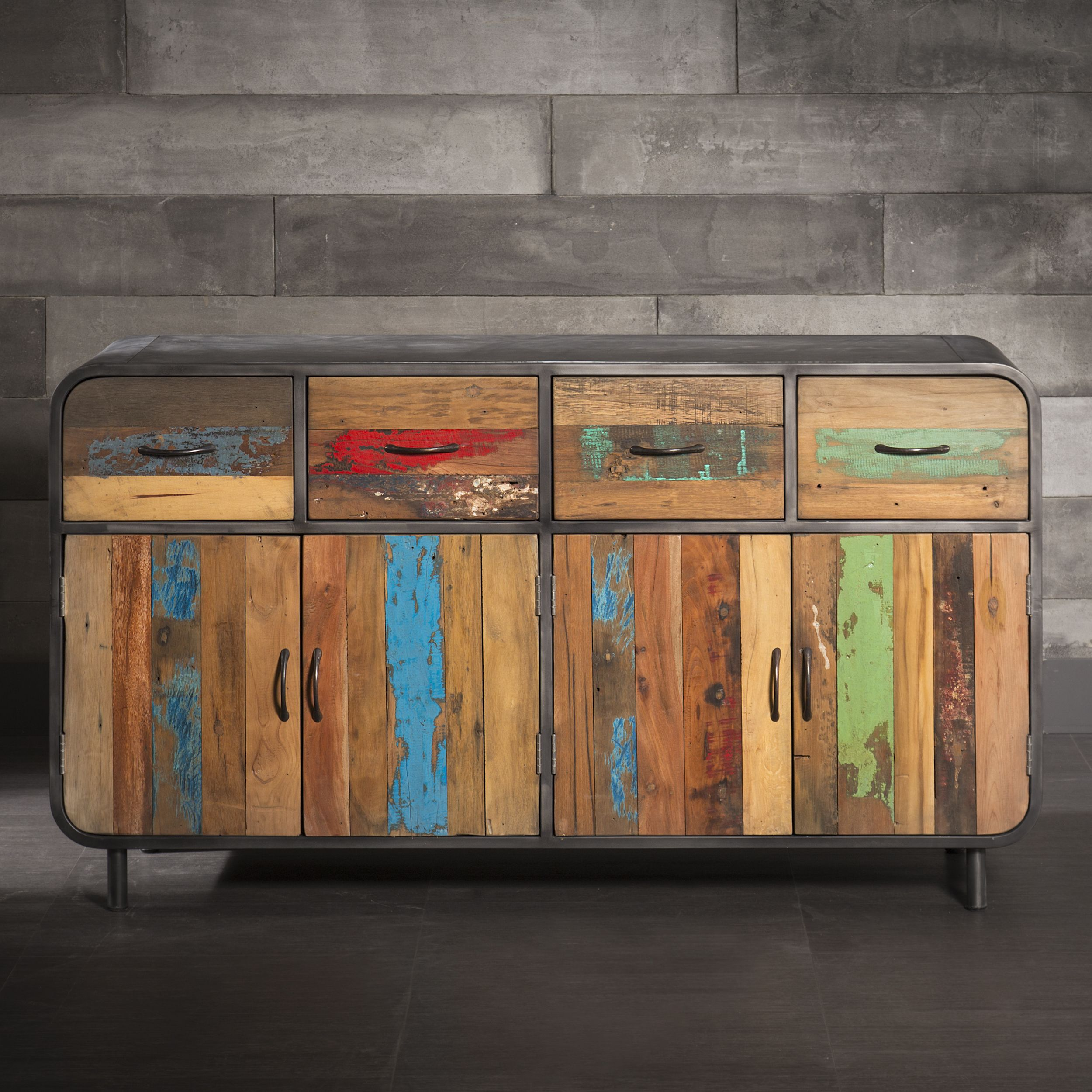 Four Door and Four Drawer Sideboard Made of Metal and Recycled Wood ...