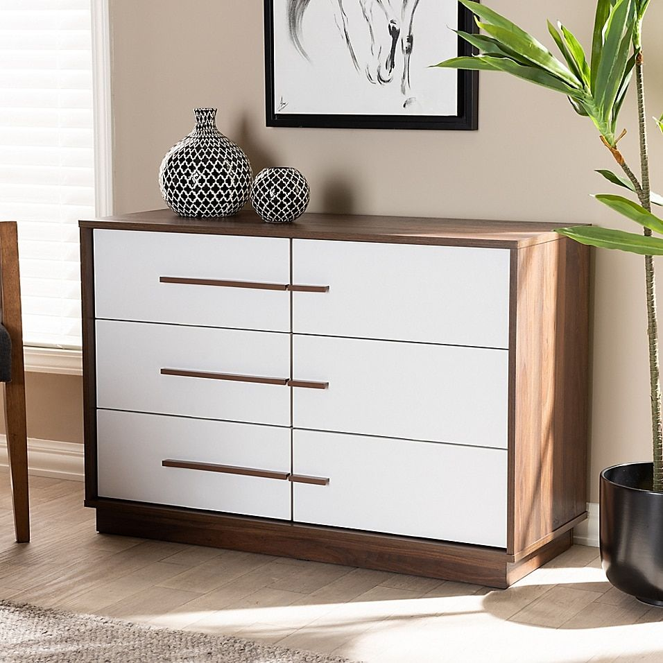 Thorley Two Tone Finished 6 Drawer Wood Dresser Bed Bath Beyond Wood Dresser Brown Dresser Bedroom Furniture Dresser [ 956 x 956 Pixel ]