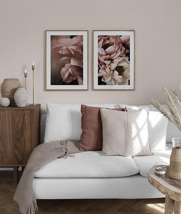 Poster mit rosa Pfingstrosen fürs Wohnzimmer INSP9505 in