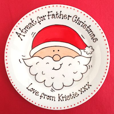 create the magic of christmas with this must have hand made mince pie plate featuring father christmas or santa in his glossy red hat - Christmas Plates