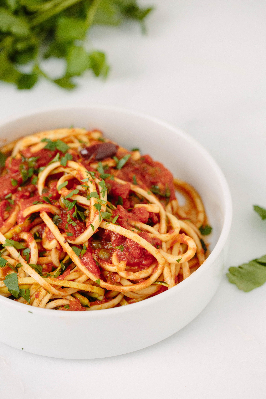 Vegan Zucchini Spaghetti Puttanesca