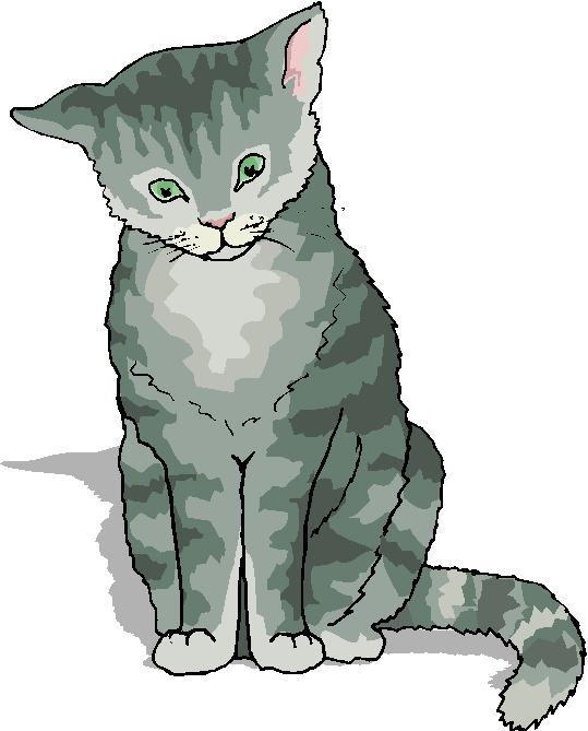 cat clip art | Funny Grey Cat Standing Free Animal Clipart ...