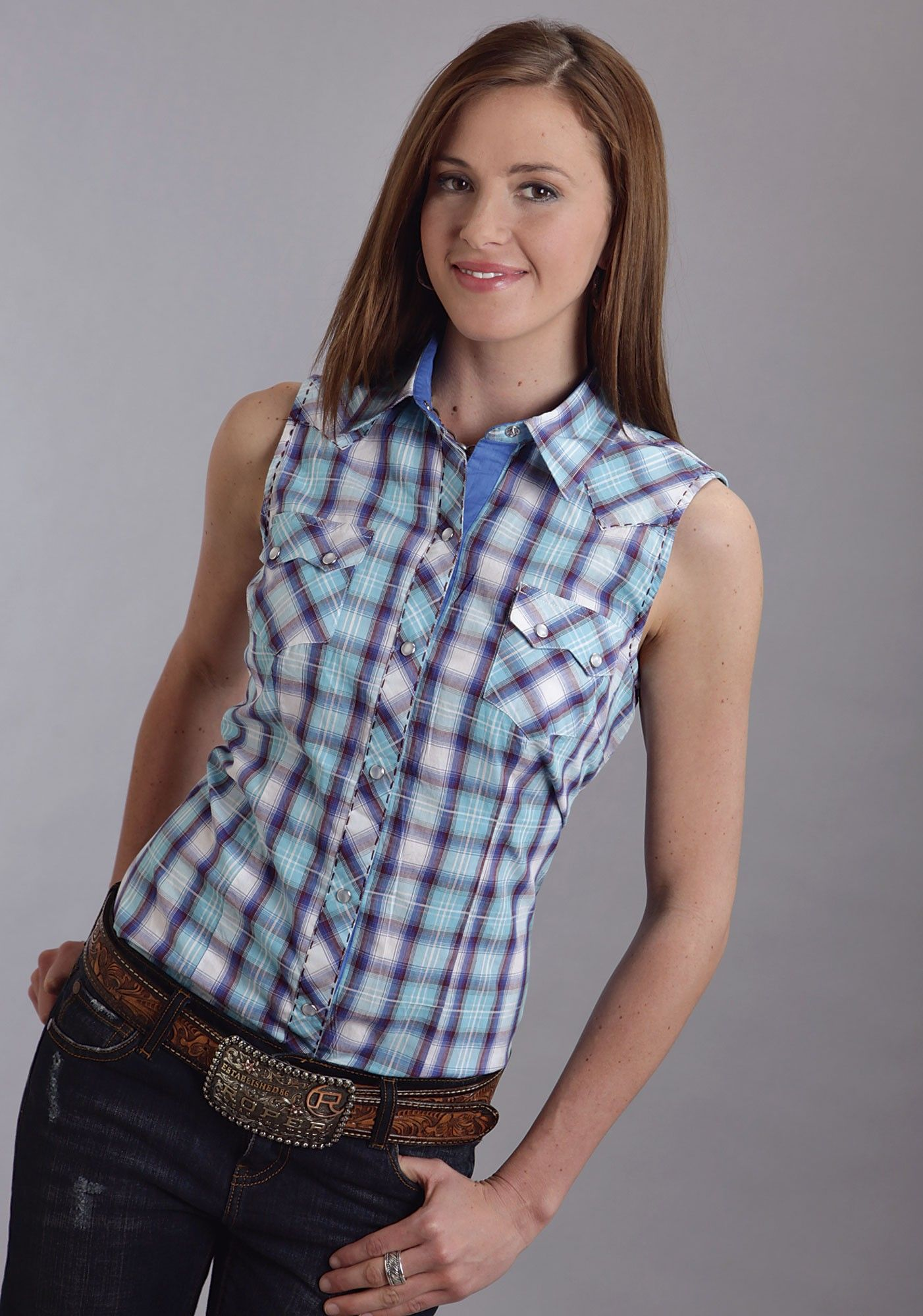 e36ea9dc3f162 Roper® Women s Turquoise Plaid Sleeveless Pearl Snap Western Shirt Country  Girl Shirts