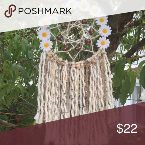 White Daisy Boho Dreamcatcher White Daisy Boho Dreamcatcher. Unique handmade item. Perfect for home decor. Made with 9in ring Other