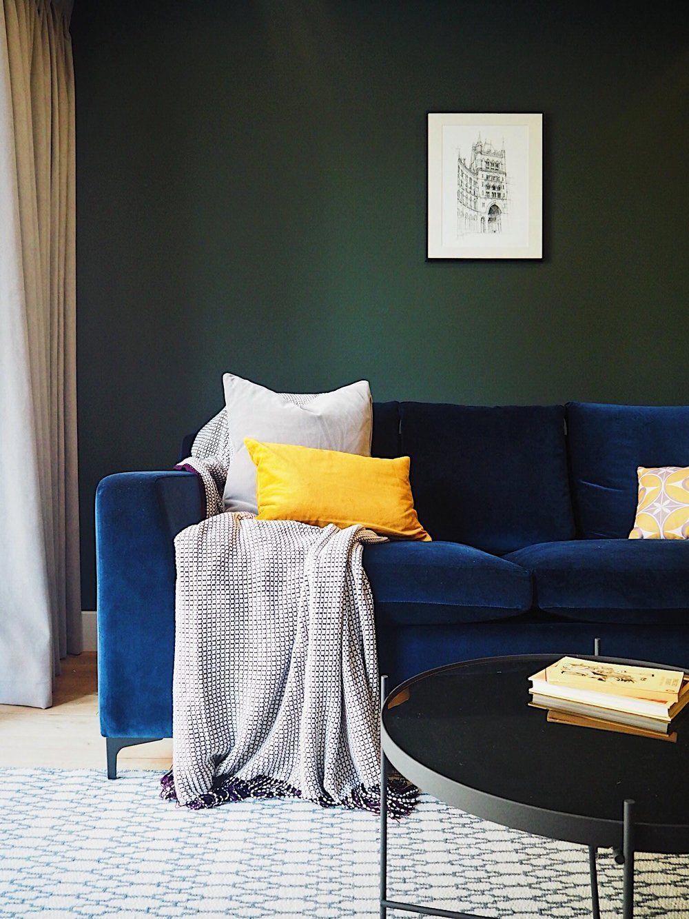 Dark Green Walls With Velvet Blue Sofa Dark Interiors Dark Decor