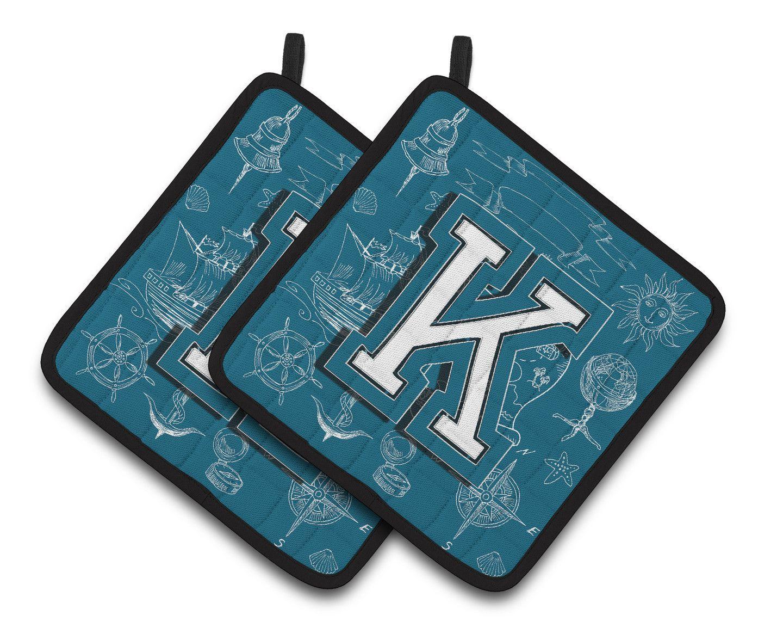 Letter K Sea Doodles Initial Alphabet Pair of Pot Holders CJ2014-KPTHD