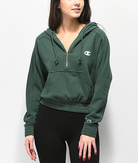 Champion Vintage Dyed Fleece Half Zip Green Hoodie