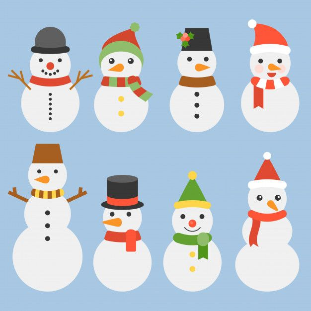 Snowman collection for christmas and winter Premium Vector Noel