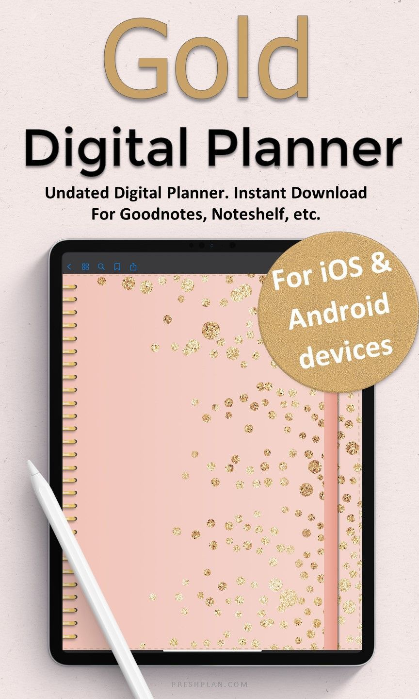 Gold Digital Planner Daily Planner Simple Digital Planning | Etsy