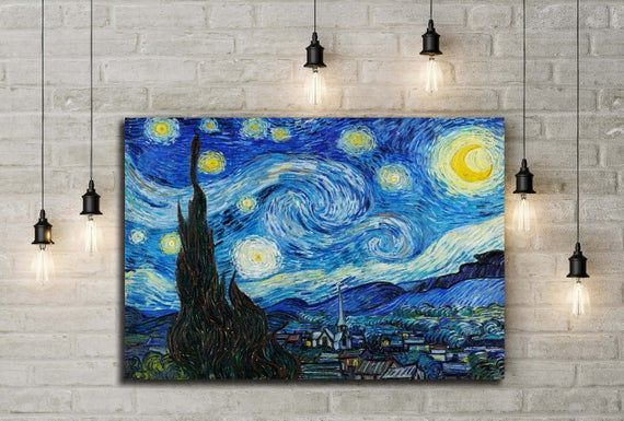 The Starry Night 1889 Vincent Van Gogh Vincent Van Gogh Etsy Starry Night Van Gogh Van Gogh Wall Art Van Gogh Paintings