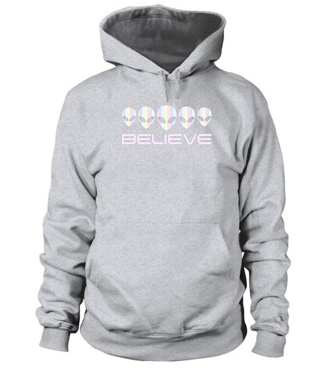 69e9bcbe842 Alien Head T Shirt-Holographic Glow Effect Believe T Shirt . Special Offer