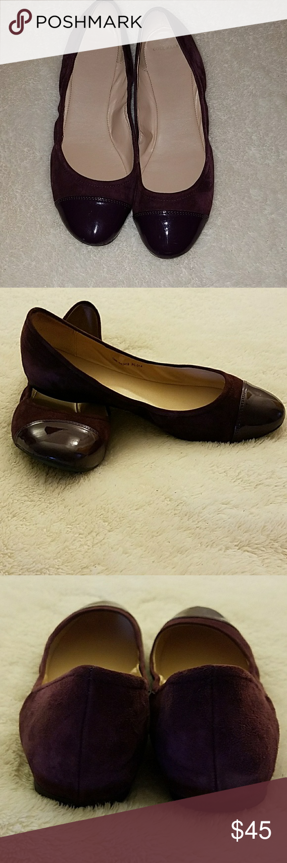 Size 10 Cole Haan Plum Ballet Flats! Size 10, fits true to size! Very  comfortable flats by Cole Haan. They are suede and patent leather on the  cap toe.