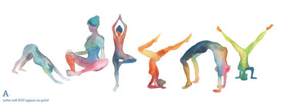 Giclee Print Of Watercolor Yoga Watercolor Painting By Naama