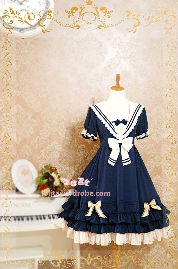 56faf5282a5a Strawberry Witch Summer Sailor Style Lolita OP Dress