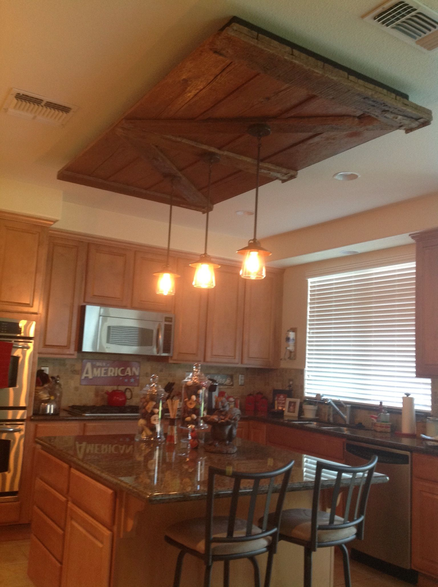 Old Barn Door Kitchen Light Fixture Never Would Have Thought Of This But Its Actually