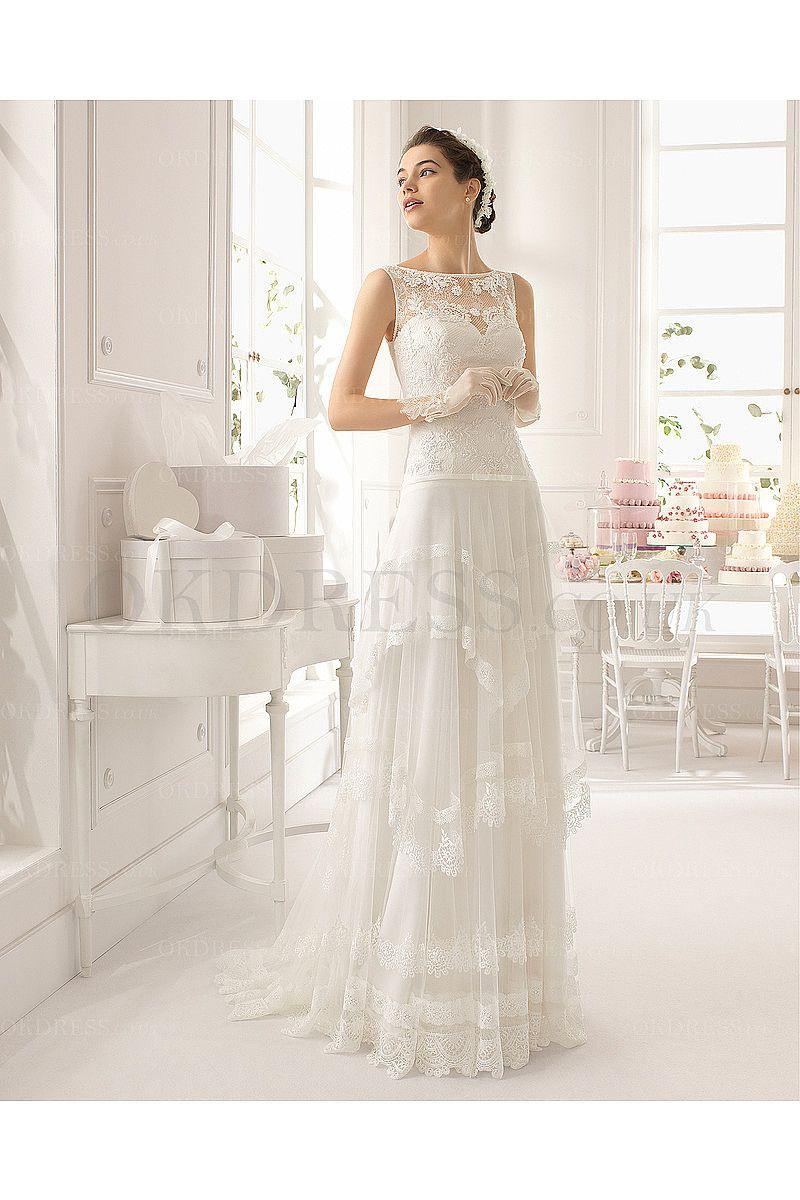 Charming Scoop Ivory Tulle Wedding Dresses - by OKDress UK
