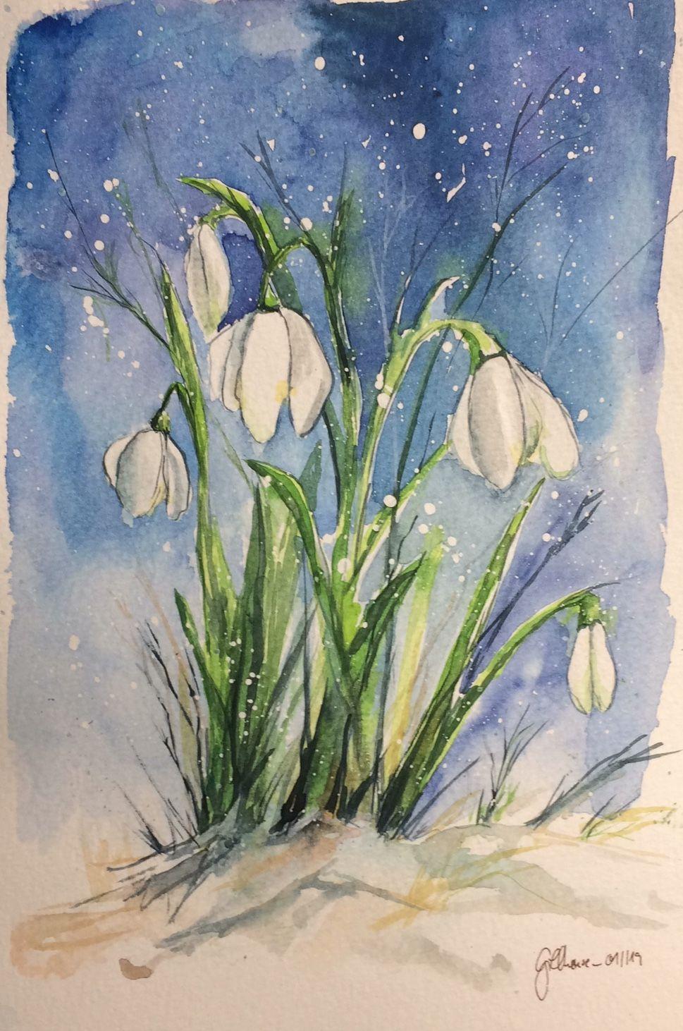 Schneeglockchen Blumen Malen Blumen Aquarell Schneeglockchen Bild